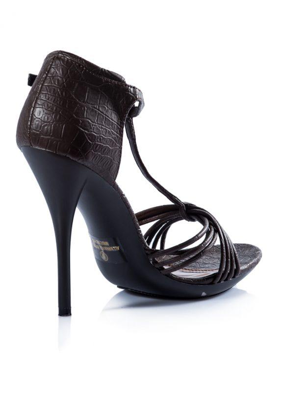 İnce Bantlı Topuklu Kahverengi Sandalet 3