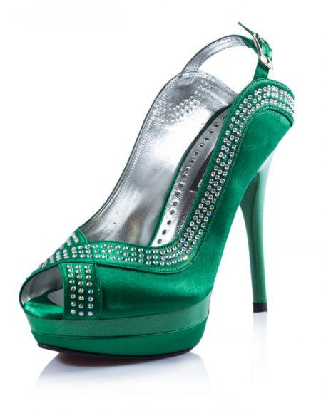 Yeşil Açık Burunlu Topuklu Taşlı Ayakkabı