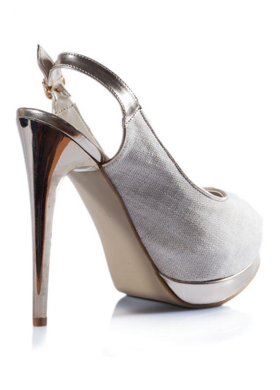 Haki Renk Açık Burunlu Dore Topuk Ayakkabı 3