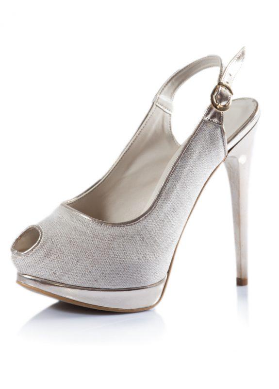 Haki Renk Açık Burunlu Dore Topuk Ayakkabı