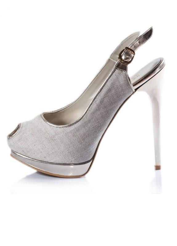 Haki Renk Açık Burunlu Dore Topuk Ayakkabı 2