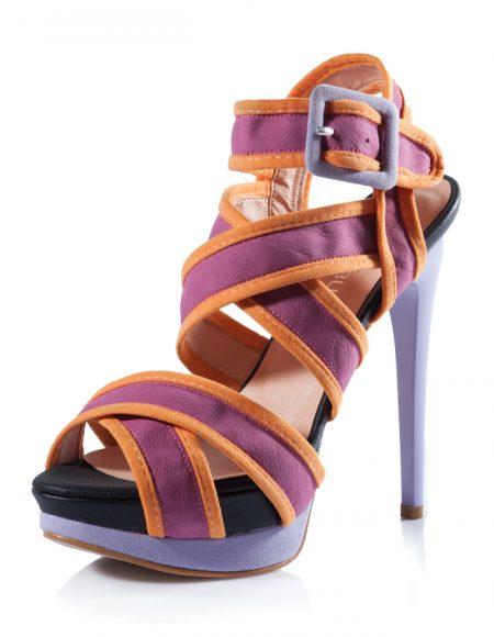 Pembe Bez Yüksek Platform Topuklu Sandalet