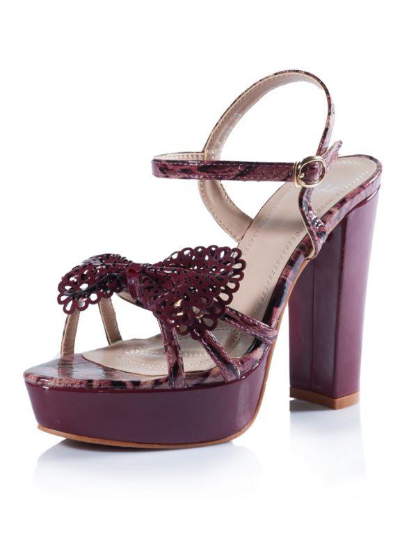 Bordo Bantlı Platform Kalın Topuk Ayakkabı