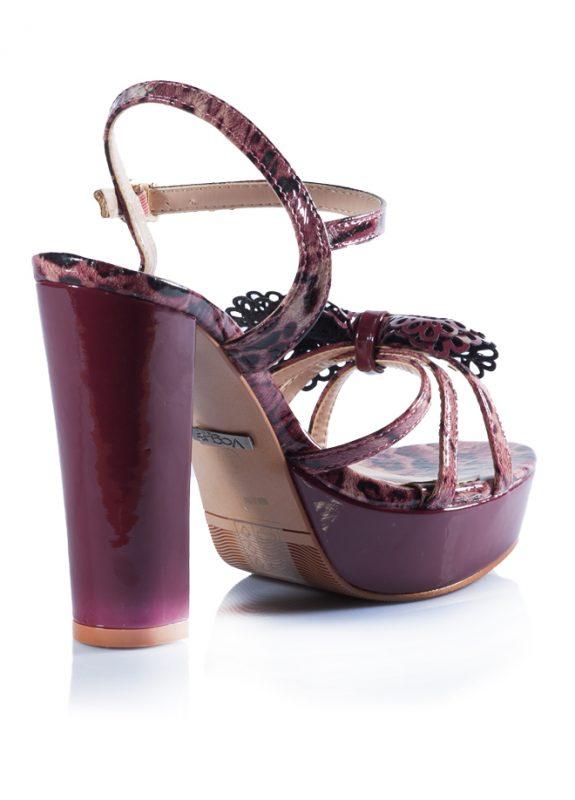 Bordo Bantlı Platform Kalın Topuk Ayakkabı 3