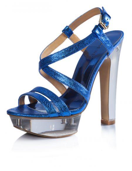Nine West Yazlık Parlak Mavi Topuklu Ayakkabı