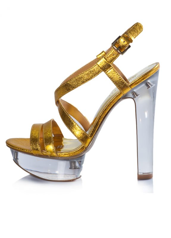 Nine West Yazlık Parlak Dore Topuklu Ayakkabı 2