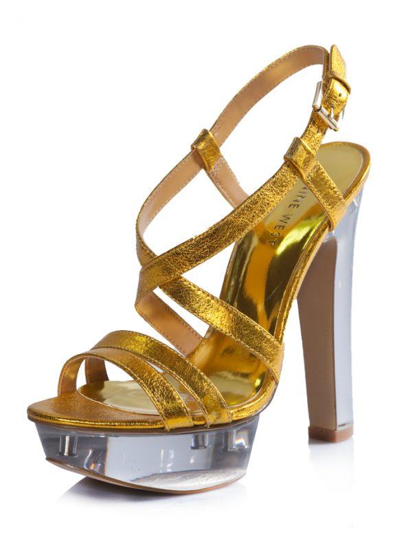 Nine West Yazlık Parlak Dore Topuklu Ayakkabı