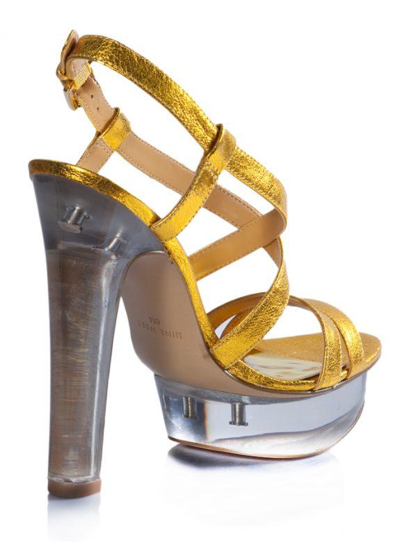 Nine West Yazlık Parlak Dore Topuklu Ayakkabı 3