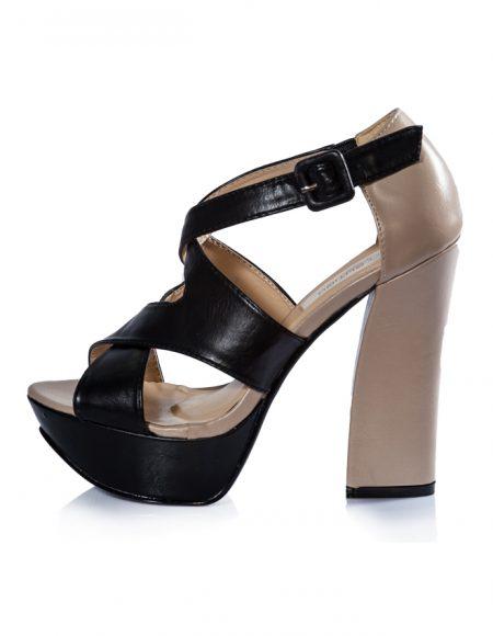 Siyah Bej Bantlı Platform Topuk Sandalet 2