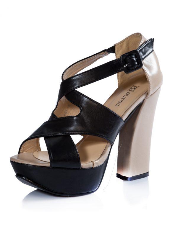 Siyah Bej Bantlı Platform Topuk Sandalet