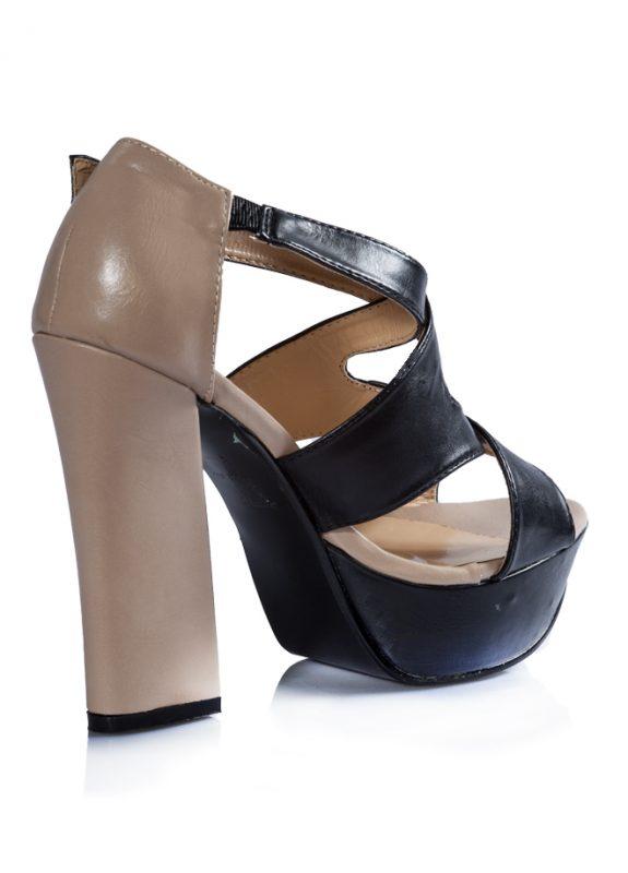 Siyah Bej Bantlı Platform Topuk Sandalet 3
