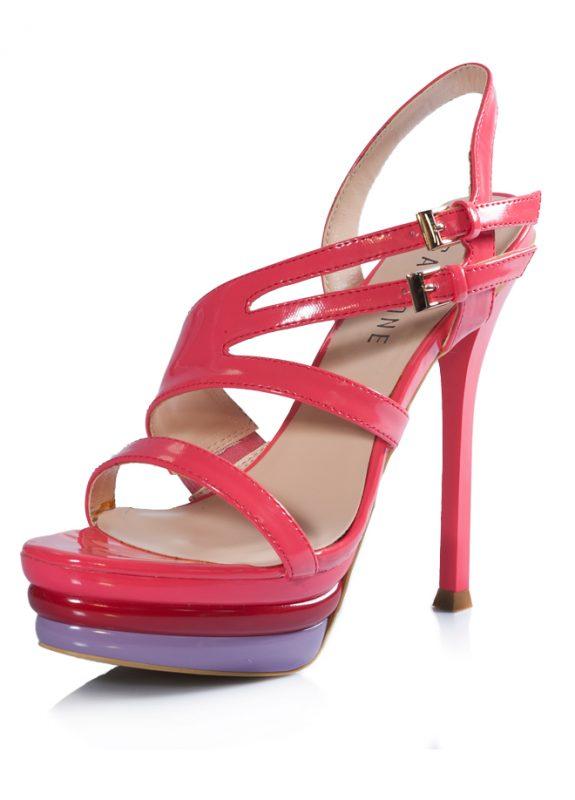 Çift Tokalı Platform Topuklu Pembe Sandalet