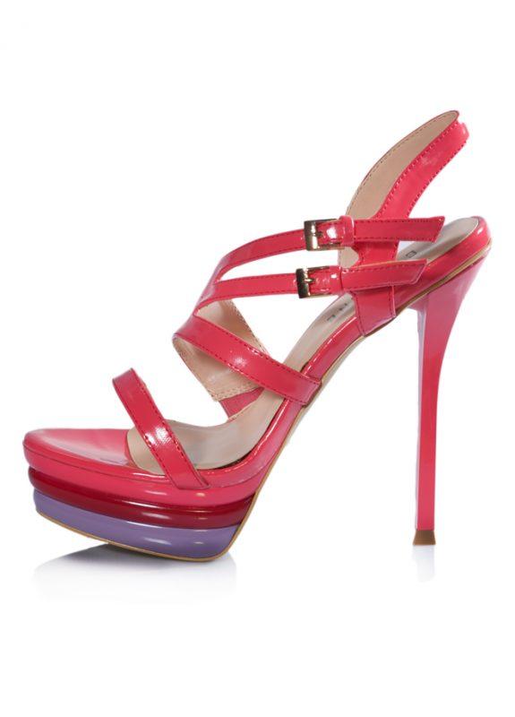 Çift Tokalı Platform Topuklu Pembe Sandalet 2
