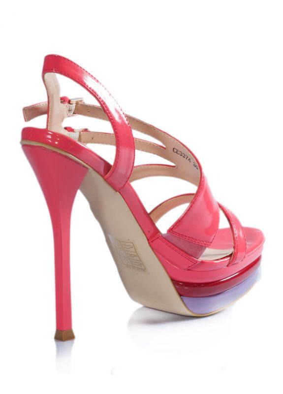 Çift Tokalı Platform Topuklu Pembe Sandalet 3
