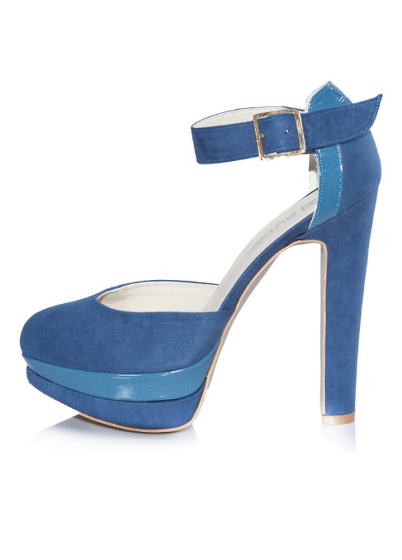 Nubuk Mavi Platform Topuklu Pump Ayakkabı 2