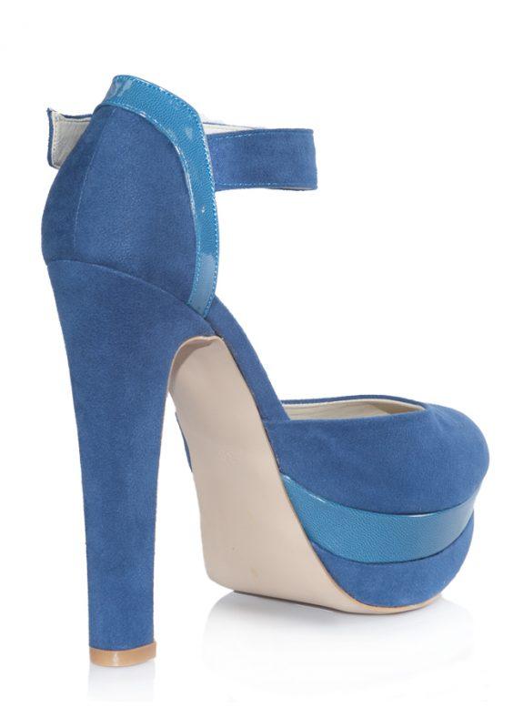Nubuk Mavi Platform Topuklu Pump Ayakkabı 3