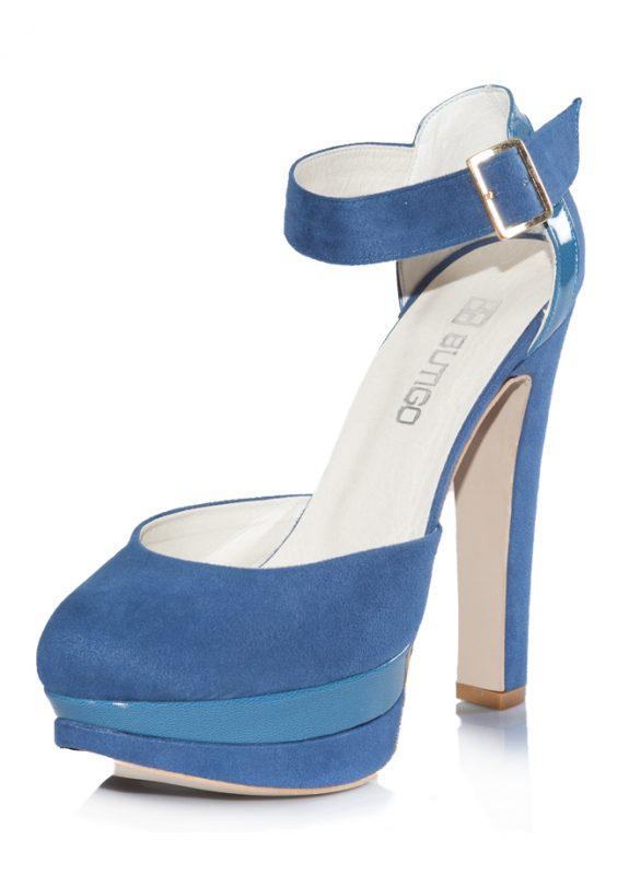 Nubuk Mavi Platform Topuklu Pump Ayakkabı