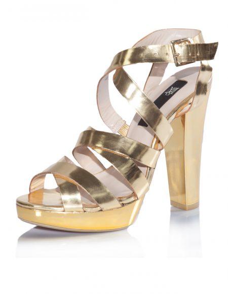Mango Yazlık Dore Platform Topuklu Ayakkabı