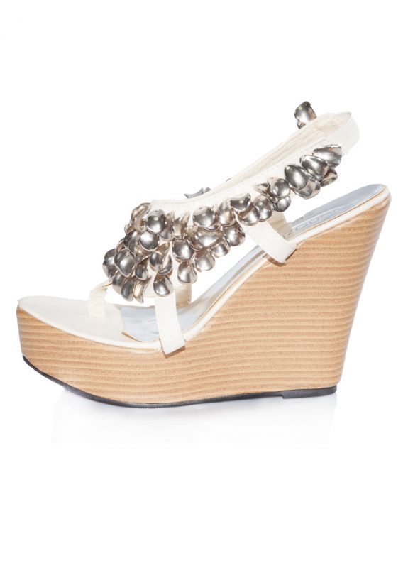 Metal Taş Dolgu Topuk Bantlı Açık Sandalet 2