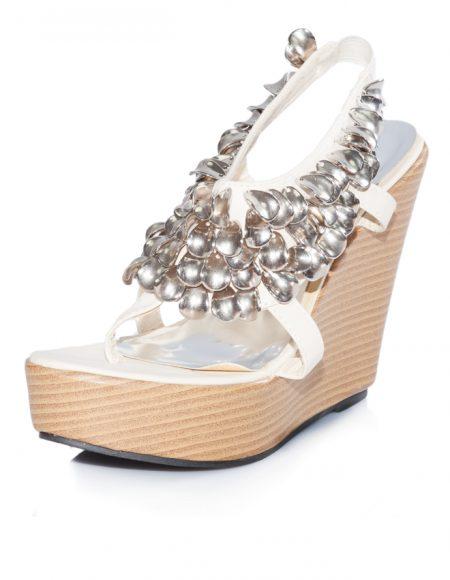 Metal Taş Dolgu Topuk Bantlı Açık Sandalet
