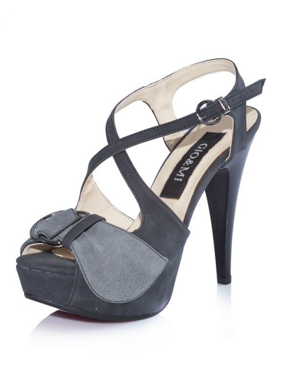 Gri Nubuk Platform Topuklu Sandalet