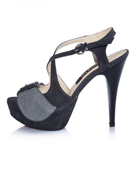 Gri Nubuk Platform Topuklu Sandalet 2