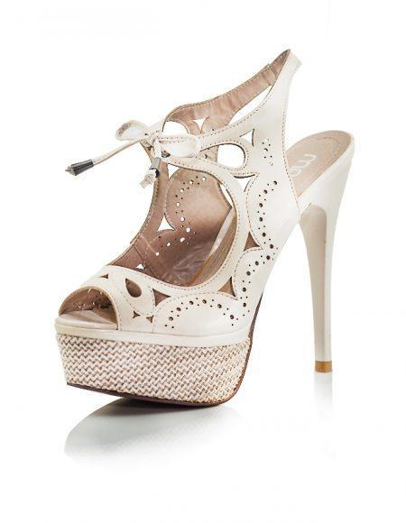 Topuklu Bağcıklı Bej Marjin Ayakkabı