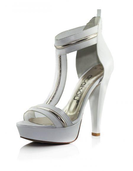 Ataköy Beyaz Açık Platform Topuklu Ayakkabı