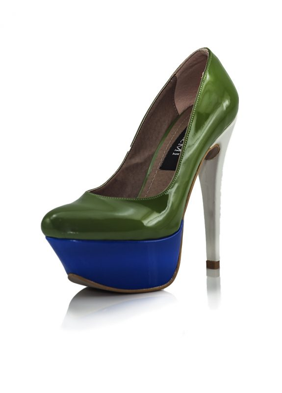 Yüksek Platform Topuk Yeşil Rugan Ayakkabı