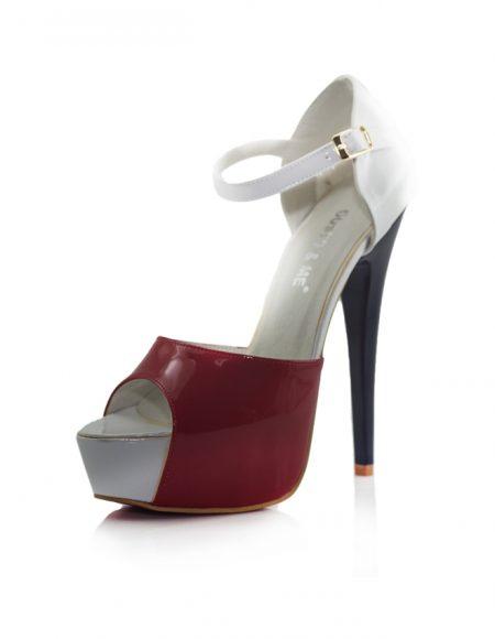 Kırmızı Beyaz Platform Topuk Açık Ayakkabı