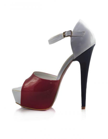 Kırmızı Beyaz Platform Topuk Açık Ayakkabı 2