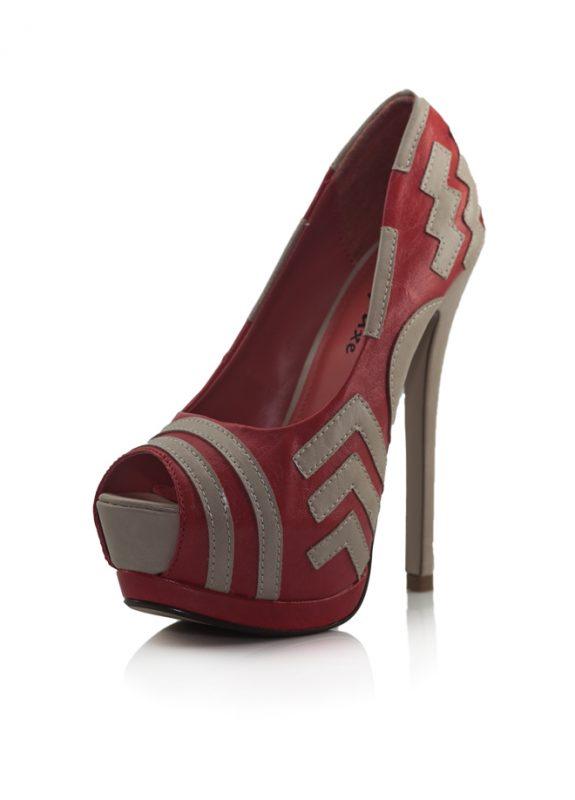 Kırmızı Gizli Platform Topuk Pump Ayakkabı