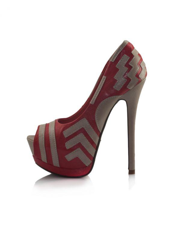 Kırmızı Gizli Platform Topuk Pump Ayakkabı 2