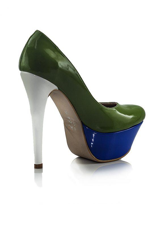 Yüksek Platform Topuk Yeşil Rugan Ayakkabı 3