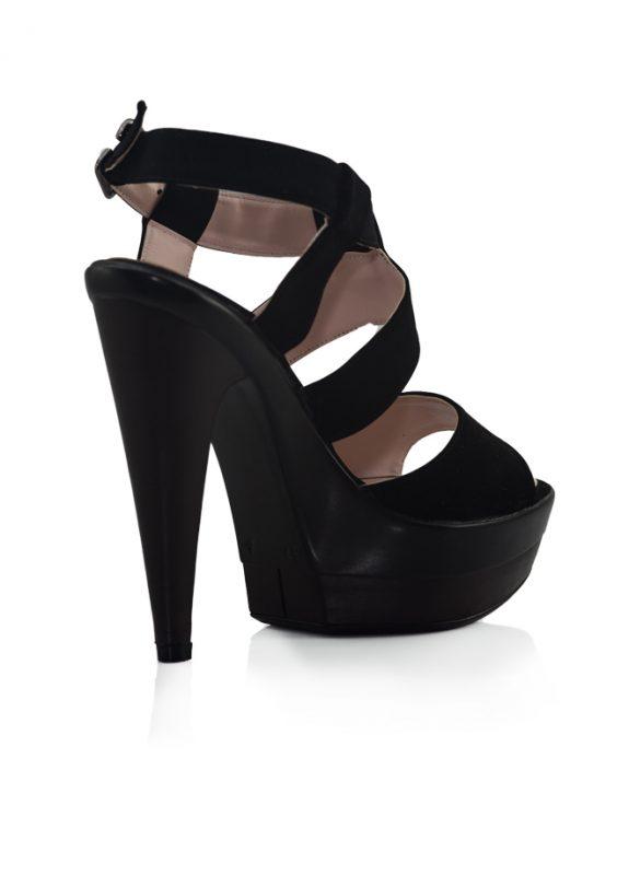 Siyah Nubuk Bantlı Topuklu Açık Ayakkabı 3