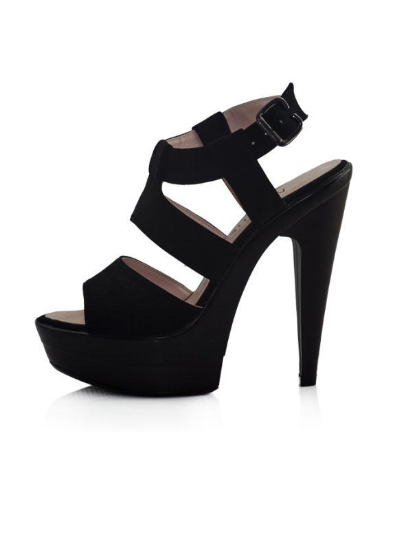 Siyah Nubuk Bantlı Topuklu Açık Ayakkabı 2