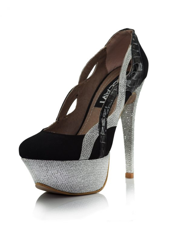 Siyah Platform Simli Topuklu Pump Ayakkabı