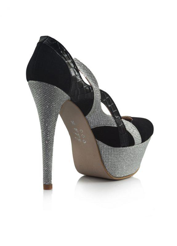 Siyah Platform Simli Topuklu Pump Ayakkabı 3