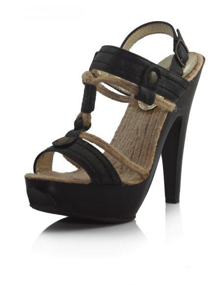Hasır İpli Siyah Topuklu Sandalet Ayakkabı