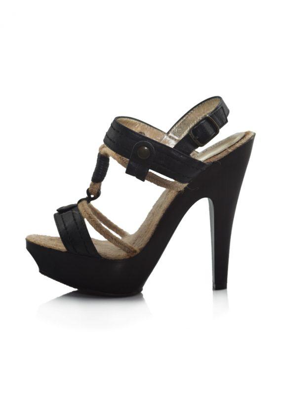 Hasır İpli Siyah Topuklu Sandalet Ayakkabı 2