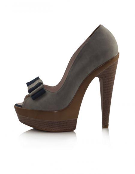 Gri Süet Açık Burun Topuklu Pump Ayakkabı 2