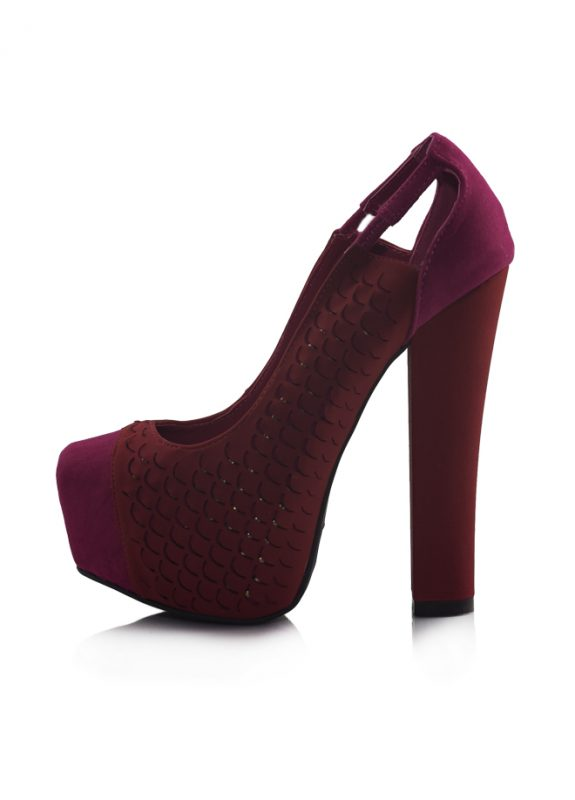 Kırmızı Balık Platform Topuk Pump Ayakkabı 2