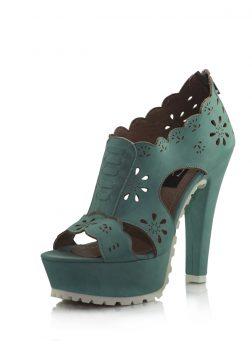 Yeşil Platform Topuklu Sandalet Ayakkabı