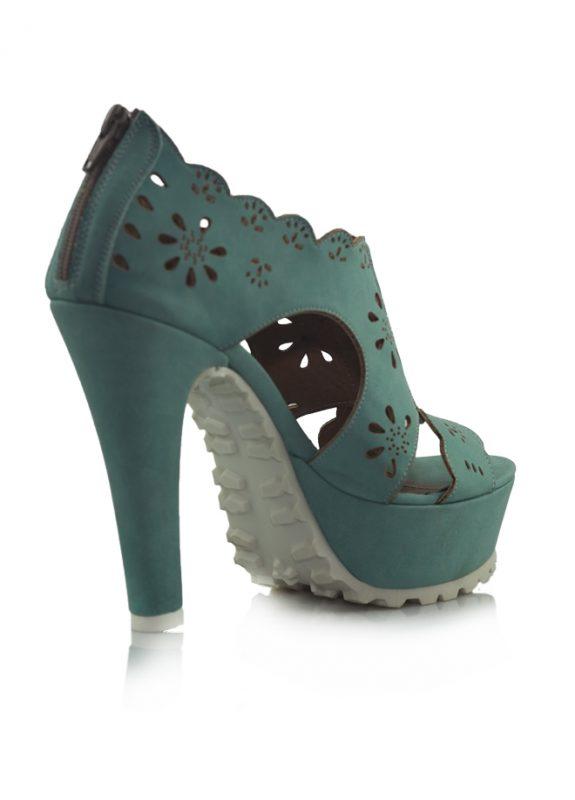 Yeşil Platform Topuklu Sandalet Ayakkabı 3