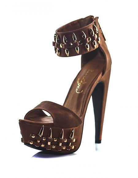 Yüksek Topuk Aksesuarlı Kahve Açık Ayakkabı