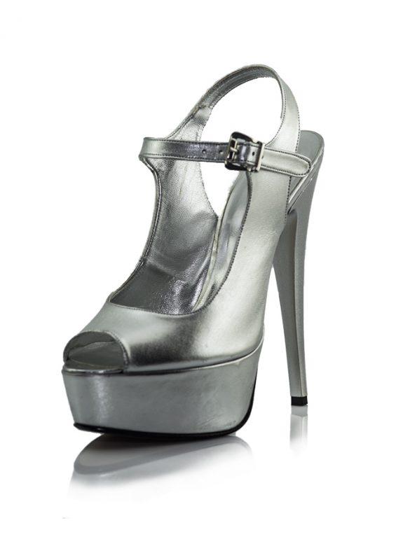 Lame Platform Topuklu Açık Burunlu Ayakkabı
