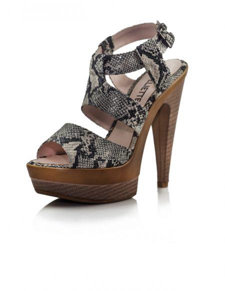 Yılan Deri Desen Platform Topuklu Ayakkabı