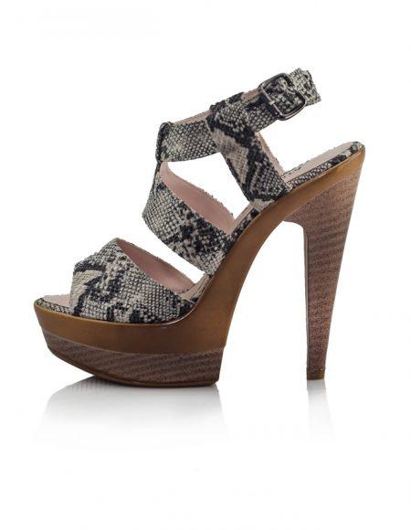 Yılan Deri Desen Platform Topuklu Ayakkabı 2