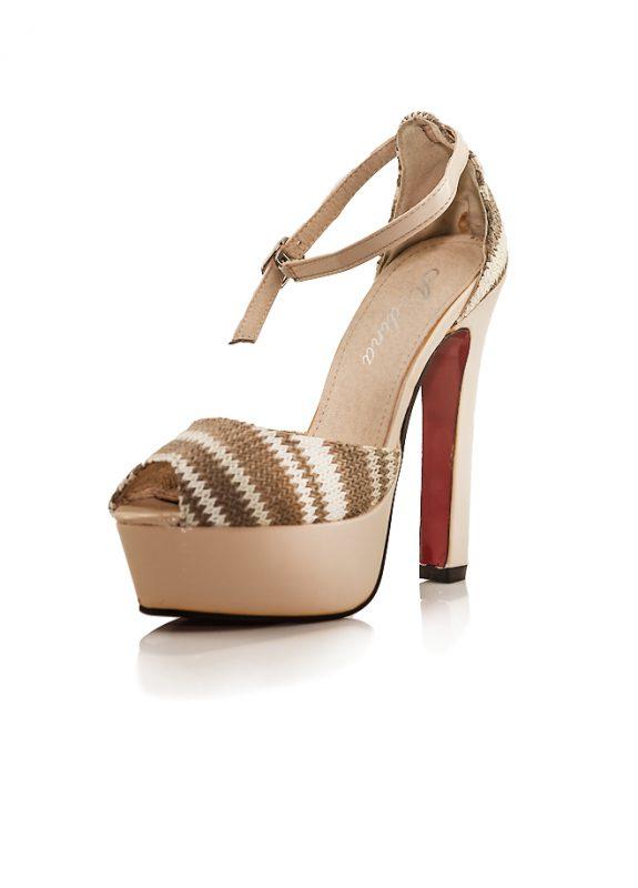 Topuklu Platform Ayakkabı Aodina Desert Açık Kahve ince bantlı ayakkabı bilekten tokalı