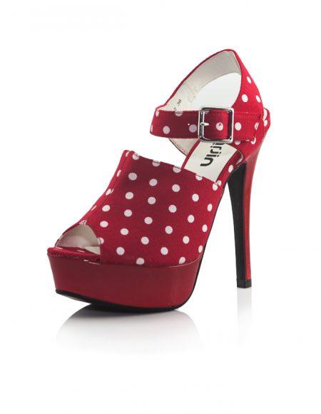 Beyaz Puanlı Platform Topuk Kırmızı Ayakkabı